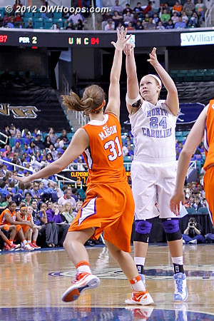 Not a good looking trey  - UNC Players: #24 Whitney Adams - CLEM Tags: #31 Lindsey Mason