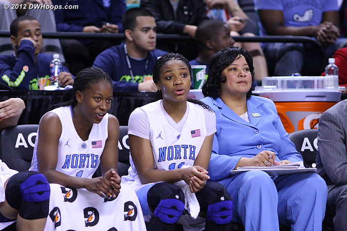 A great day for Rountree who tied the ACC Tournament single game record for three pointers with seven  - UNC Players: #1 She'la White, #11 Brittany Rountree, Assistant Coach Tracey Williams-Johnson