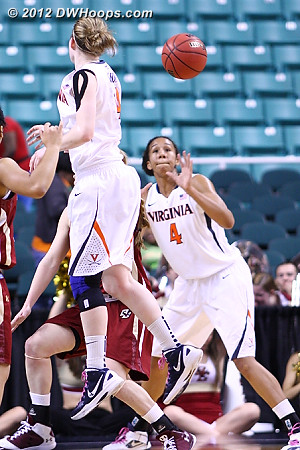 Gerson whips a pass to Egwu  - UVA Players: #4 Simone Egwu, #14 Lexie Gerson