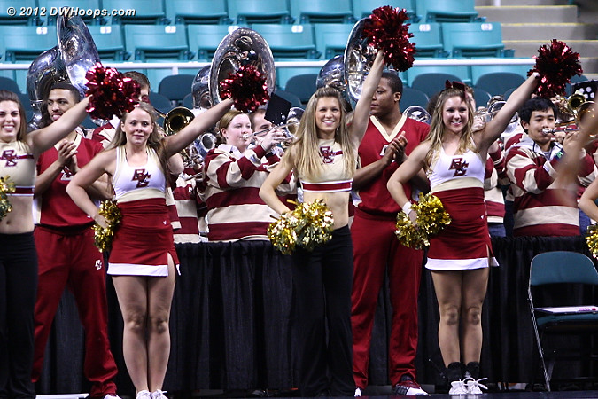 DWHoops Photo  - BC Players:  Boston College Band,  Boston College Cheerleaders