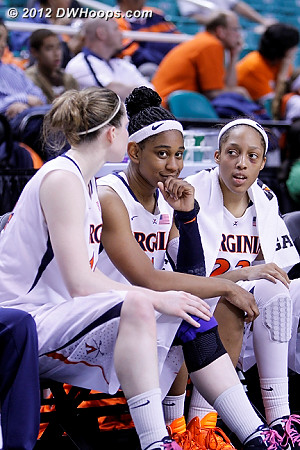 Moorer couldn't hide it, this one was indeed a laugher  - UVA Players: #14 Lexie Gerson, #15 Ariana Moorer, #23 Ataira Franklin