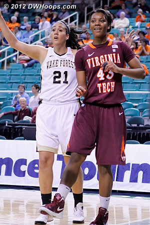 Battle for the call  - WAKE Players: #21 Sandra Garcia - VT Tags: #43 LaTorri Hines-Allen