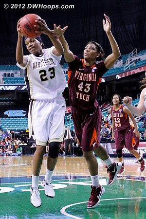 Wake rebound  - WAKE Players: #23 Secily Ray - VT Tags: #43 LaTorri Hines-Allen