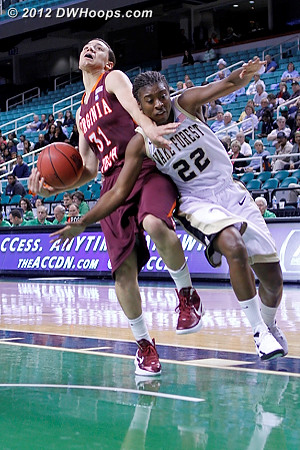Wake and Virginia Tech couldn't quite get untangled  - WAKE Players: #22 Lakevia Boykin - VT Tags: #31 Monet Tellier