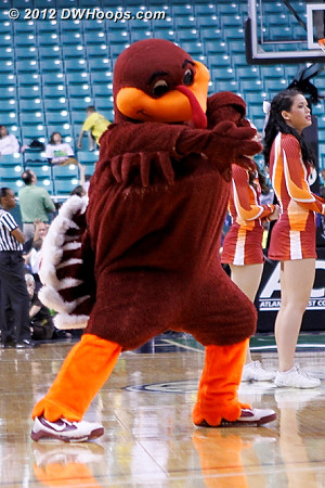 Hokiebird styling helped them get back in the game?  - VT Players: Mascot Hokiebird