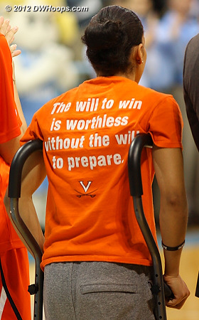China Crosby, out for the season with an ACL injury, stands on crutches during the National Anthem  - UVA Players: #1 China Crosby