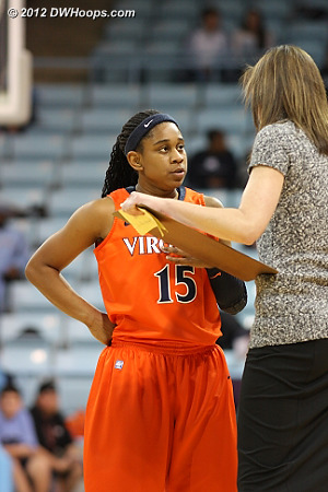 DWHoops Photo  - UVA Players: #15 Ariana Moorer, Head Coach Joanne Boyle