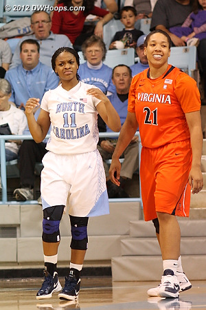 Foul on Pitts  - UNC Players: #11 Brittany Rountree - UVA Tags: #21 Jazmin Pitts