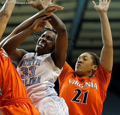 A fierce battle inside  - UNC Players: #33 Laura Broomfield - UVA Tags: #21 Jazmin Pitts