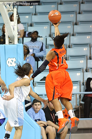 Moorer had a very efficient shooting game and was perfect from the line  - UVA Players: #15 Ariana Moorer