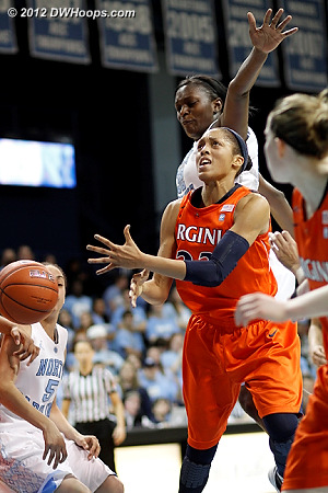 Franklin loses the handle for another Virginia turnover  - UNC Players: #32 Waltiea Rolle - UVA Tags: #23 Ataira Franklin