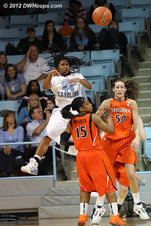 Ruffin-Pratt whips a pass to the high post  - UNC Players: #44 Tierra Ruffin-Pratt - UVA Tags: #15 Ariana Moorer, #50 Chelsea Shine