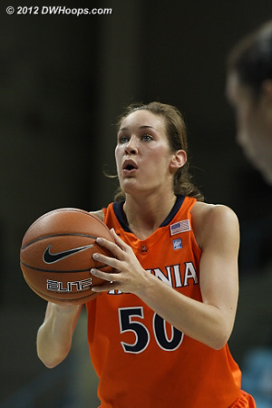 Taking a deep breath before sinking two free throws  - UVA Players: #50 Chelsea Shine