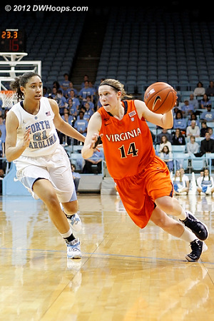 DWHoops Photo  - UNC Players: #21 Krista Gross - UVA Tags: #14 Lexie Gerson