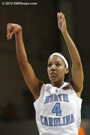 Wood's two free throws set UNC's high water mark, a 16 point lead with 16:12 left.  - UNC Players: #4 Candace Wood