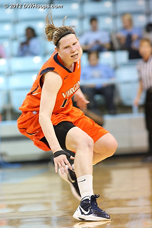 Gerson just missed a steal - she had two tonight, two less than her league-leading average  - UVA Players: #14 Lexie Gerson