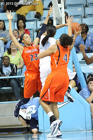 Chay Shegog post move sequence  - UNC Players: #20 Chay Shegog - UVA Tags: #4 Simone Egwu, #23 Ataira Franklin