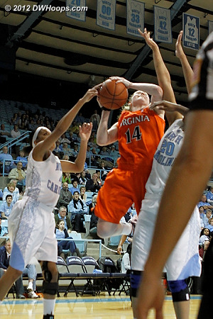 Foul on Wood (left)  - UNC Players: #4 Candace Wood, #20 Chay Shegog - UVA Tags: #14 Lexie Gerson