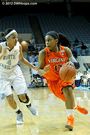 DWHoops Photo  - UNC Players: #4 Candace Wood - UVA Tags: #15 Ariana Moorer
