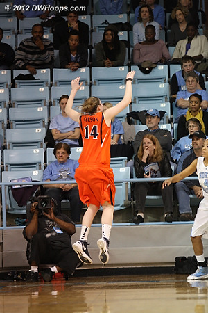 Gerson guards the inbounder as UNC has just one to shoot  - UNC Players: #4 Candace Wood - UVA Tags: #14 Lexie Gerson