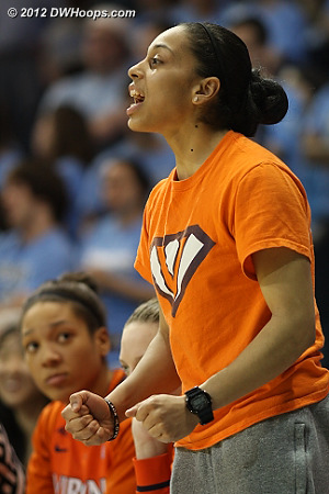 China Crosby, out for the season, provides support from the bench  - UVA Players: #1 China Crosby