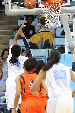 Hoop and harm for Ruffin-Pratt - foul on Moorer  - UNC Players: #44 Tierra Ruffin-Pratt