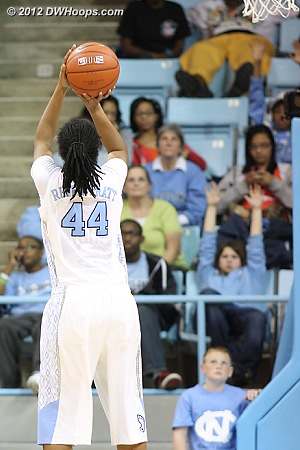 Shot was good - 57-54 Heels  - UNC Players: #44 Tierra Ruffin-Pratt