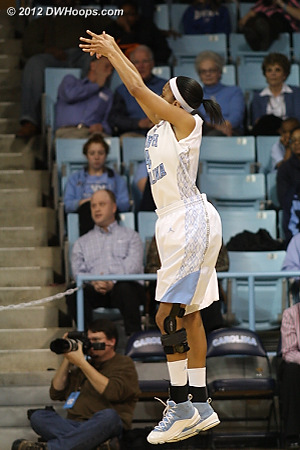 Wood hits a dagger of a three - 60-56 Heels with 56 seconds left  - UNC Players: #4 Candace Wood