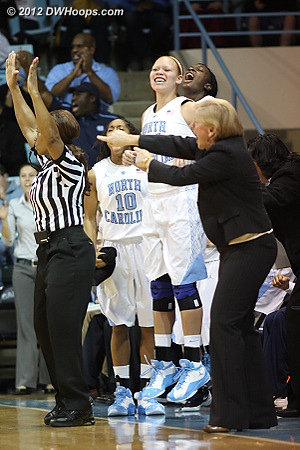 Heels bench reacts to the Wood trey