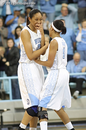 Wood and Shegog discuss a wayward pass at the end of the game  - UNC Players: #4 Candace Wood, #20 Chay Shegog