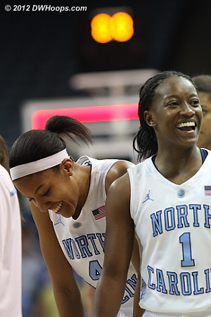 DWHoops Photo  - UNC Players: #1 She'la White, #4 Candace Wood