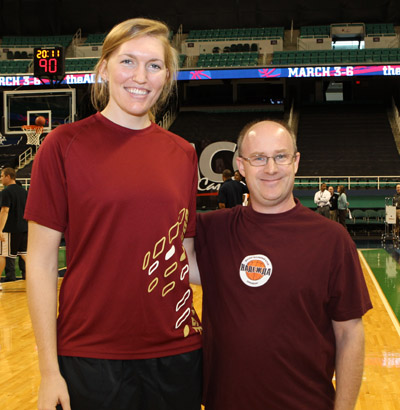 NCAA field goal percentage leader Carolyn Swords of Boston College was paired with DWHoops Publisher Orin Day in the She Can Play! Shootout at the 2010 ACC Media Day (photo courtesy ACC)