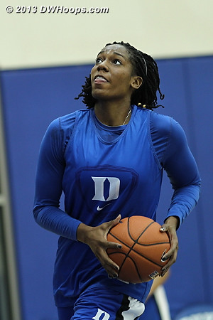 Amber Henson, who redshirted the past two seasons due to knee issues, was on the court for some of the drills Wednesday.