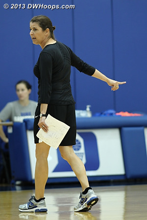 Coach P hard at work directing Duke's first practice of the 2013-14 campaign.