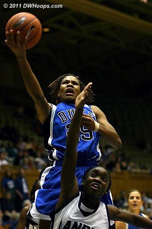 Monique Currie fiercely attacks the basket in a 2005 exhibition vs. Lander College