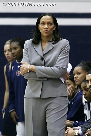 Georgetown Head Coach Terri Williams-Flournoy on the sidelines of McDonough Arena during the 2009 season.