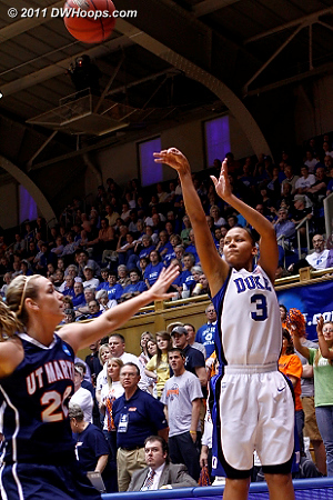 Shay fires from the corner  - Duke Tags: #3 Shay Selby 22 Alecia Weatherly