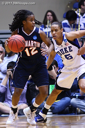 Closely guarding the three point threat  - Duke Tags: #5 Jasmine Thomas 12 Jasmine Newsome