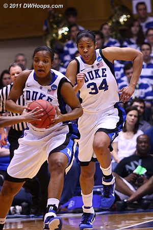 Richa starts the Duke break  - Duke Tags: #15 Richa Jackson, #34 Krystal Thomas
