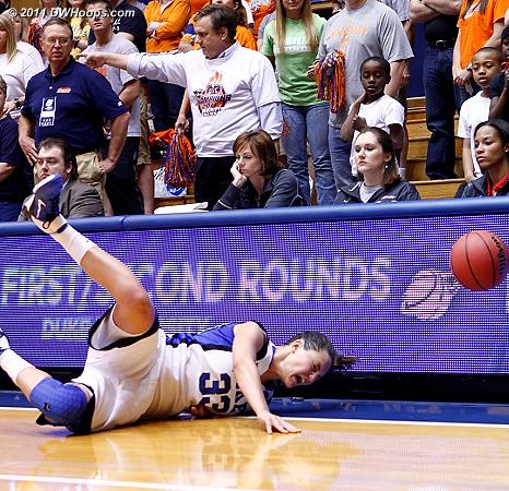 Haley dives for a loose ball  - Duke Tags: #33 Haley Peters
