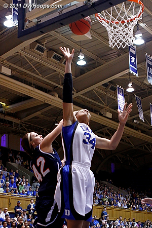 Duke goes up 7-2  - Duke Tags: #34 Krystal Thomas 42 Beth Hawn
