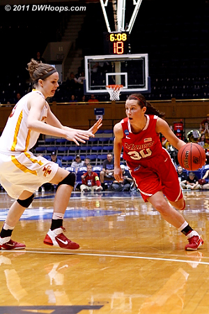 Marist's Erica Allenspach drives during the Lady Red Foxes' first round win over Iowa State.