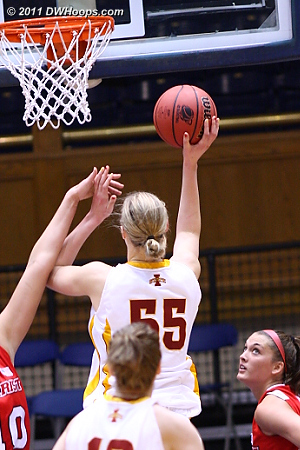 Prins led Iowa State with 25 points, getting to the goal and the line, but it wasn't enough  55 Anna Prins