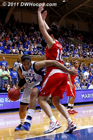 Krystal works around Oliver, arm just low enough to not be called for a foul.  - Duke Tags: #34 Krystal Thomas 10 Kate Oliver