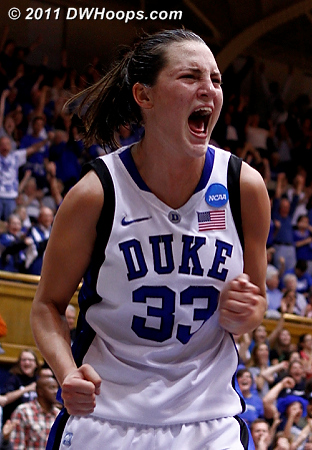 Haley reacts to the J.Thomas layup and harm  - Duke Tags: #33 Haley Peters