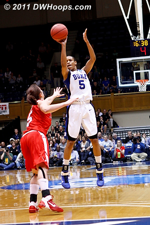 Clutch 3 from Jas with the shot clock running down  - Duke Tags: #5 Jasmine Thomas 5 Elise Caron
