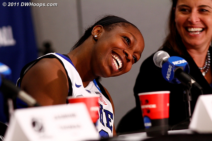 Postgame press conference - asked just what Jas said in that huddle!  - Duke Tags: #12 Chelsea Gray