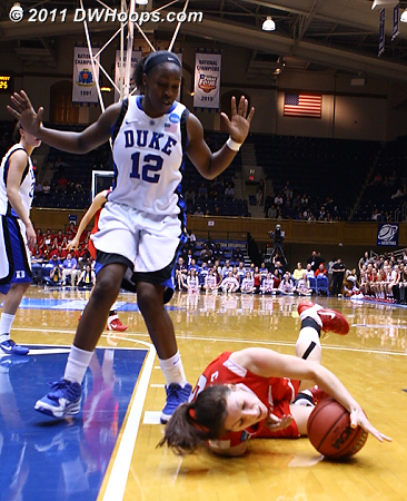 Foul on Gray  - Duke Tags: #12 Chelsea Gray 5 Elise Caron