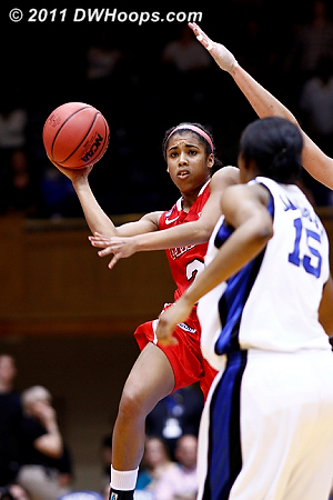 Shot at the buzzer is no good, Marist leads 31-26 at the break.  Once again Duke trails a ranked team in Cameron, a situation that resulted in a Blue Devil win each time.  24 Corielle Yarde