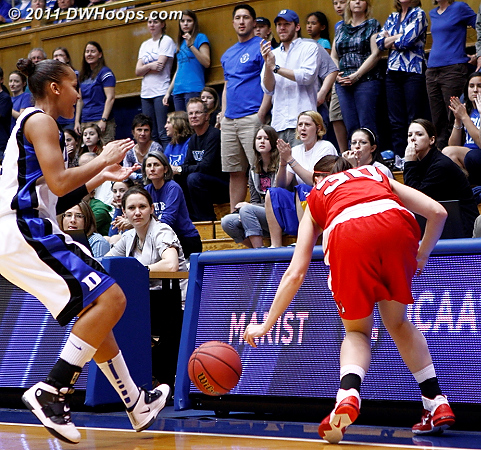An early Marist turnover forced by Duke's press  - Duke Tags: #3 Shay Selby 30 Erica Allenspach